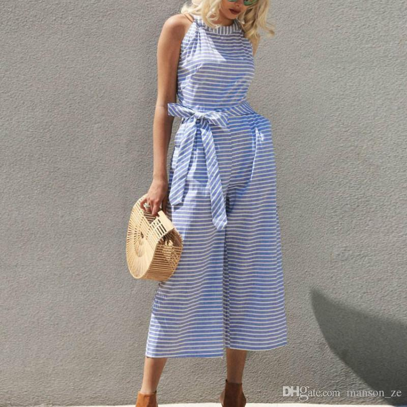 e4a0ca5a723812 2019 Elegant Sexy Jumpsuits Women Summer Bowknot Pants Playsuit Sleeveless  Rompers Holiday Belted Leotard Overalls Office Lady Striped Jumpsuits From  ...