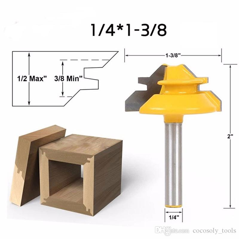 1/4*1-3/8 2 Bit Tongue and Groove Router Bit Set Woodwork Cutter Power Tools -1/4 Shank
