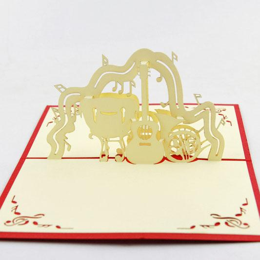 Music Card Spiral Pop Up Musical Notes 3D Instruments