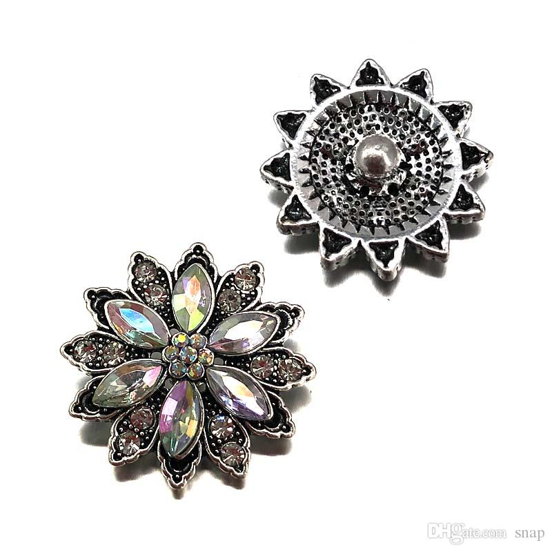 Wholesale w391 3D 18mm 25mm rhinestone metal snap button for Bracelet Necklace Interchangeable Jewelry Women accessorie findings