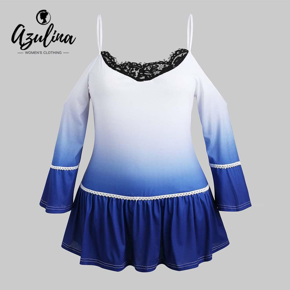 a6e26d7fcd2 AZULINA Plus Size Ombre Cami T Shirt Spaghei Strap Cold Shoulder Flare  Sleeve T Shirt Women Lace Long Tops Tees New Clothing Shirts And T Shirts  Buy Cool T ...