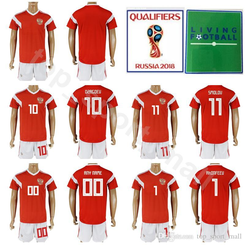 9b56f0479 2019 World Cup 2018 Russia Soccer Jersey Set 6 Denis Cheryshev Football  Shirt Kits 9 Alan Dzagoev 10 Fyodor Smolov Make Custom With Short Pant From  ...
