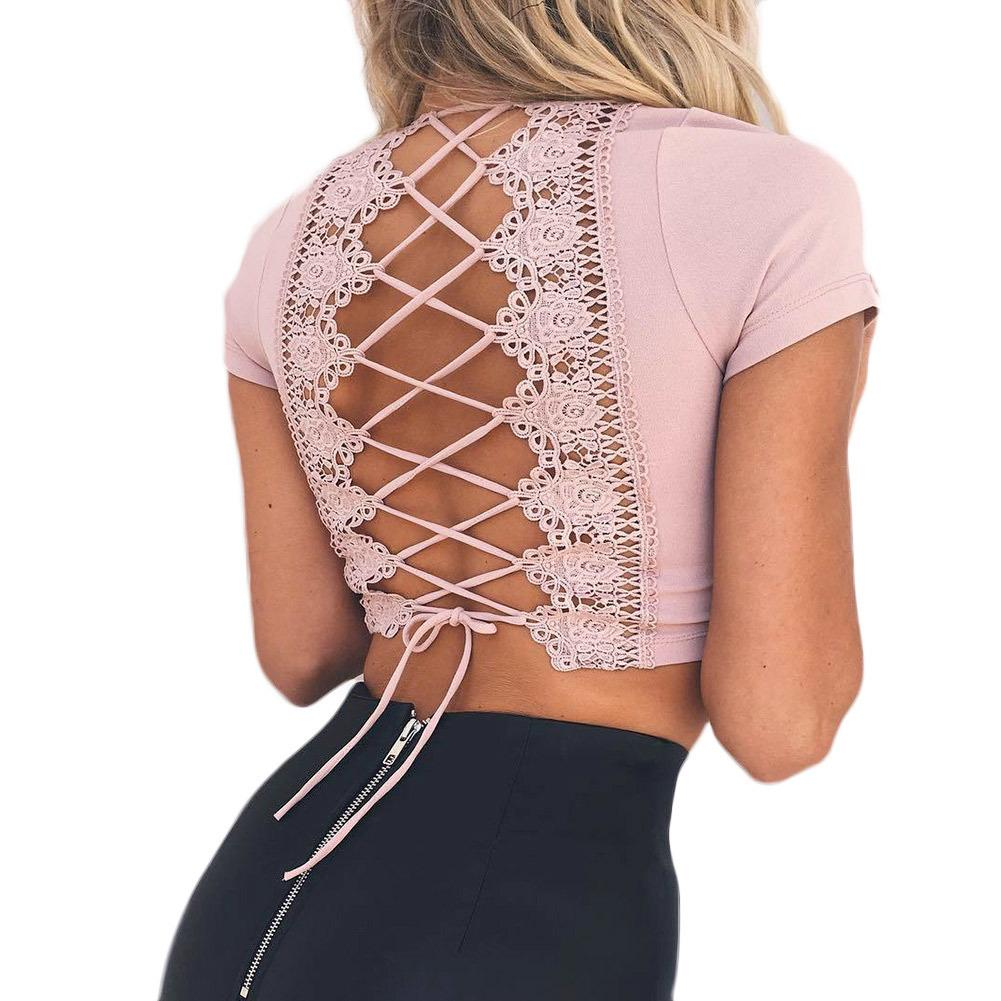 Sexy Women Bodycon Crop Top Hollow Out Lace Up Back Bustier Top V-Neck Short Sleeve Casual Summer Top Pink Punk Tee Shirt Femme