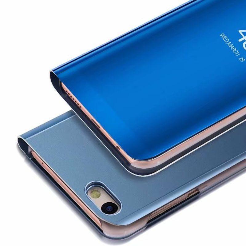 100 pz Specchio Clear View Flip Cassa del telefono Huawei P10 Lite Y5 Y5 prime Y6 Y6 prime Pro Y7 2018 Y7 prime Copertura del telefono con Placcatura