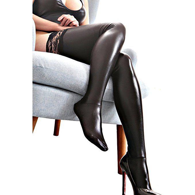 Damen Dessous Ultra-Wide Schwarz Lycra Wet Look Anti-Rutsch-Spitze Oberschenkel Länge Strümpfe Sexy Socken