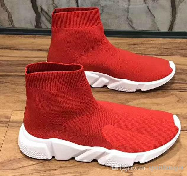2019 White black red Luxury Sock Speed Trainer Running Shoes Men&Women Black White Red Grey Sneakers Race Runners Fashion Boots Size 36-45