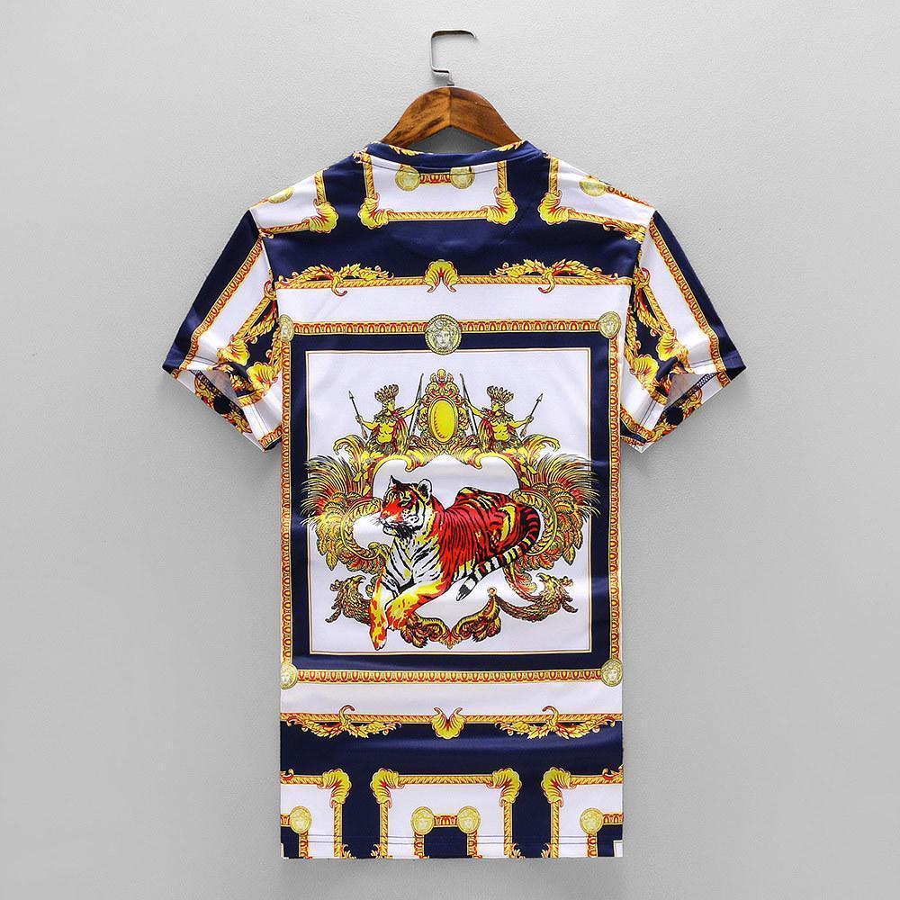 Acheter Mode Italie Luxe Designer Marque Hommes Vêtements Medusa Animal  Lion Géométrie Imprimé Rayé Survêtement T Shirt Shorts Chemise T Shirts Tee  Shirt De ... d59b36eb751