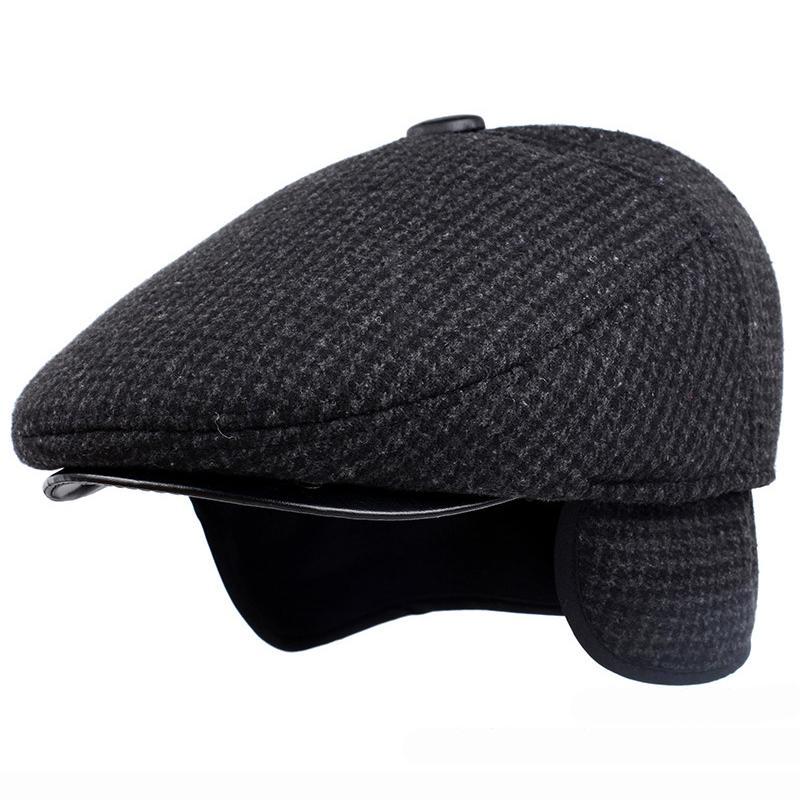 f934eafe772113 2019 HT1847 Classic Man Cap Autumn Winter Hat With Ear Flap Elder Man Male  Dad Hat Warm Newsboy Ivy Flat Cap Wool Blend Men Beret From Jamesjewelry,  ...