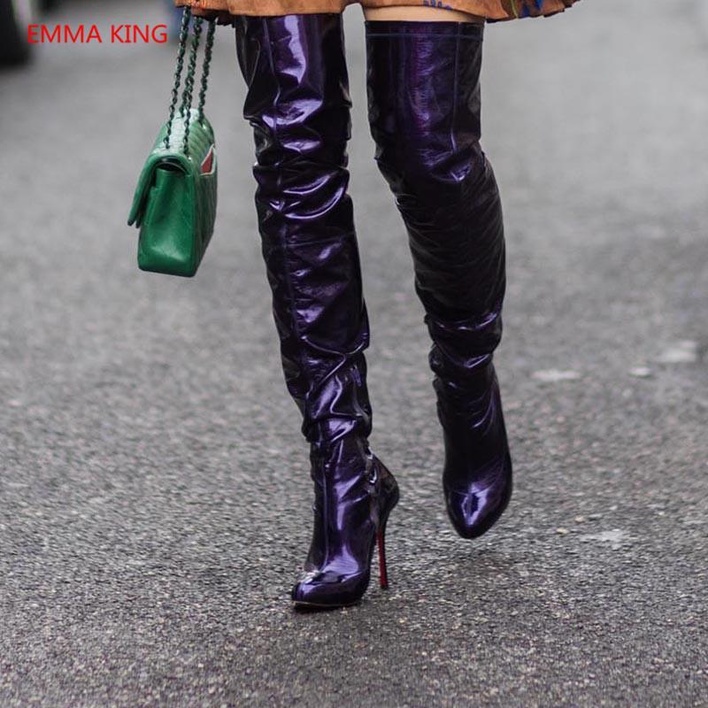 31927c169 Compre Moda Dedo Del Pie Acentuado Mujeres Sobre La Rodilla Botas De Lujo De  Charol Tacones Altos Muslo Bota Alta Mujer Otoño Invierno Zapatos Botines A  ...