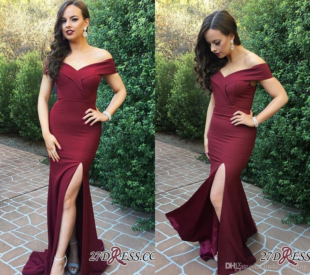 Großhandel 2018 Sexy Günstige Dark Red Abendkleid Mermaid Off ...