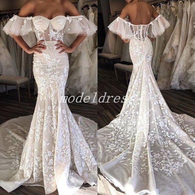 115c2c5d7551 2018 Fairy Mermaid Wedding Dresses Off Shoulder Backless Sweep Train  Appliques Illusion Bodice Garden Country Bridal Gowns Robe De Mariée Latest  Wedding ...