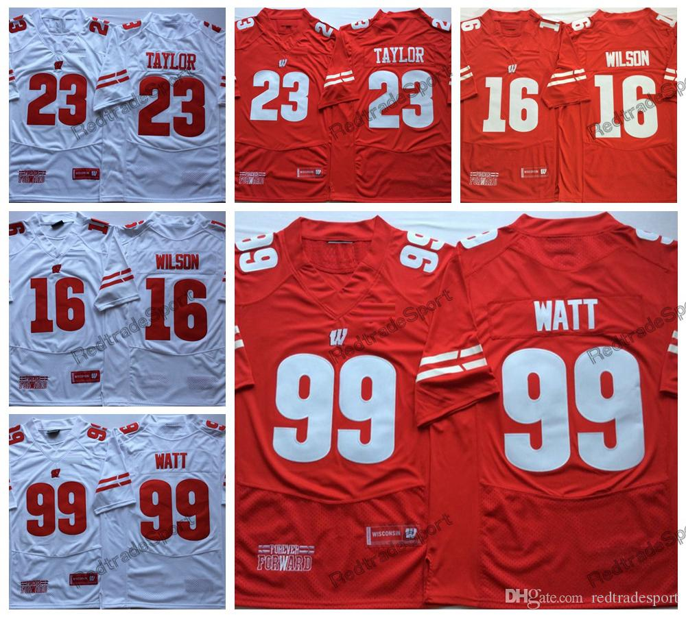 separation shoes 7dbb3 9a810 2018 New Wisconsin Badgers 99 JJ Watt 23 Jonathan Taylor 16 Russell Wilson  College Football Jerseys Mens Red University Football Shirts