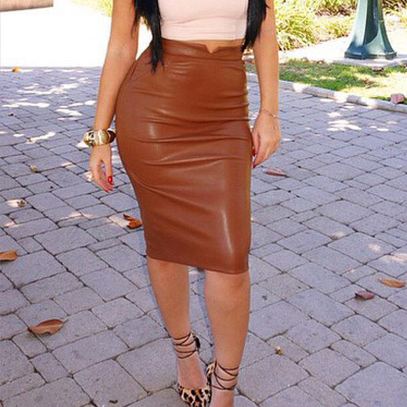 b92bcf0af65 Plus Size High Waist Bodycon Midi Skirt PU Faux Leather Women ELEGANT Pencil  Party Sexy OFFICE Stretch FemaleTube Saias Feminina UK 2019 From Tuhua