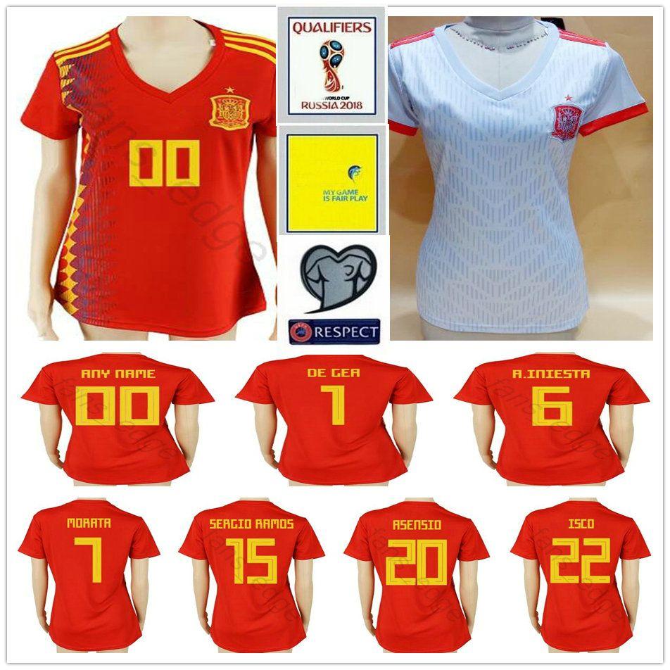 0d66cfd94ba4e 2019 2018 World Cup Women Spain Soccer Jersey INIESTA ASENSIO CALLEJON ISCO  SERGIO RAMOS PIQUE MORATA Custom Woman Men Kids Youth Football Shirt From  ...