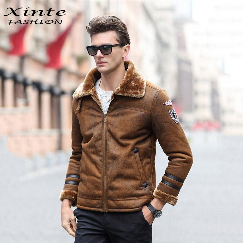 3d36187bbe6 2018 Whole European Style Men Leather Jacket Thick Warm Winter