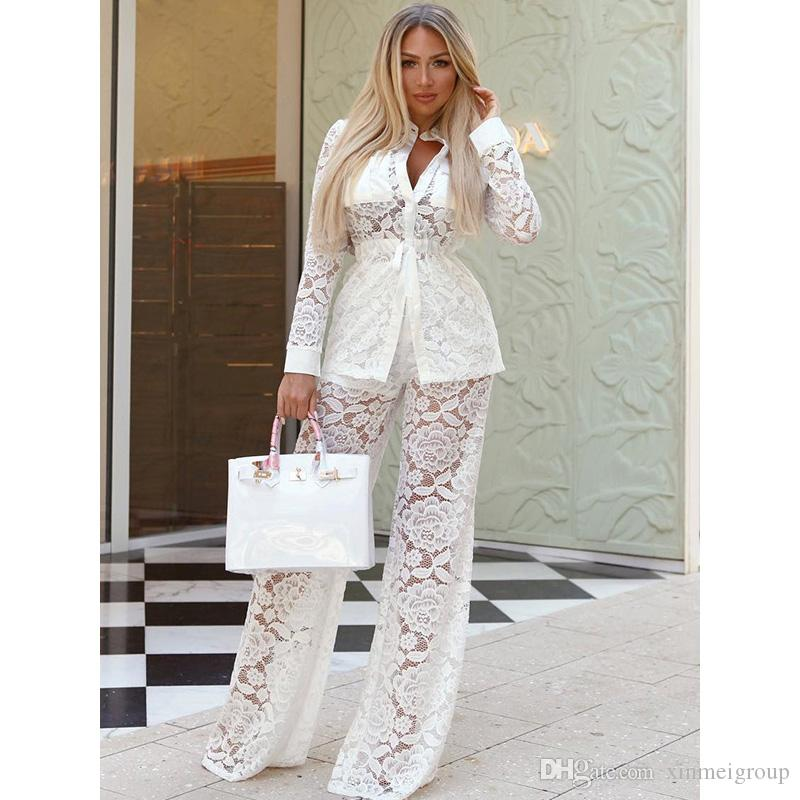 a3e2f2e664b 2019 Sexy White See Through Lace Jumpsuit For Women Long Sleeve Autumn  Casual Sets Outfits Loose Pant Shirt Women Romper WE770148 From  Xinmeigroup
