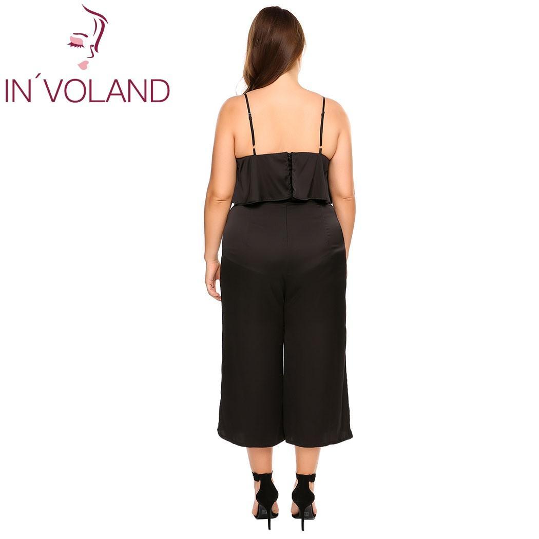 IN'VOLAND Frauen Jumpsiut Plus Größe Sexy Spaghetti Strap Rüschen Wide Leg Pants Solide Lose Feminino Jumpsuit Overall 3XL