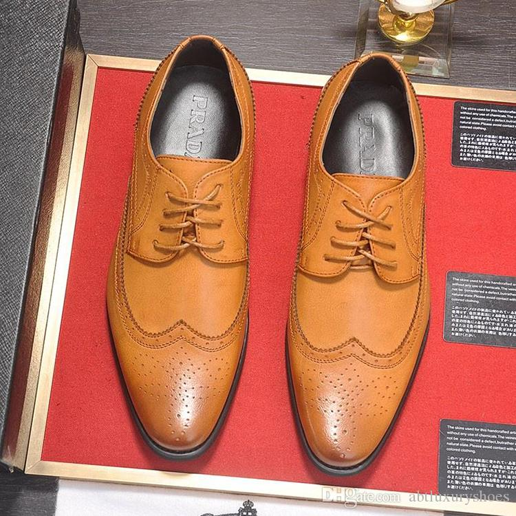 2018 Mens Dress Shoes Lace Up Italy Pra Brand Wedding Shoes Flats Leather Oxfords Formal Shoes Business Classic Simple Men Footwears Luxury