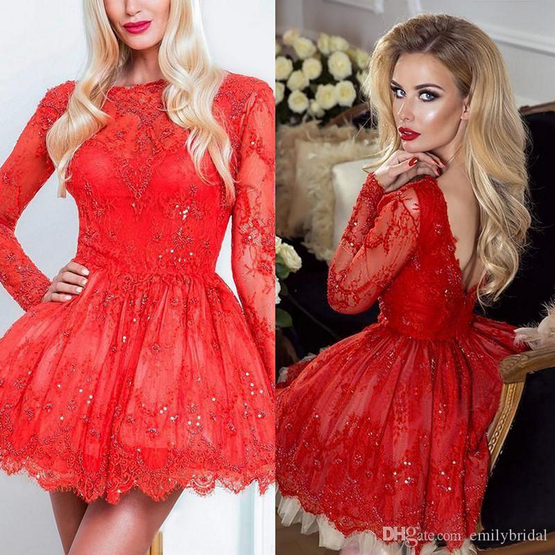 Großhandel Homecoming Kleider 2018 Red Long Sleeve Spitze Short ...