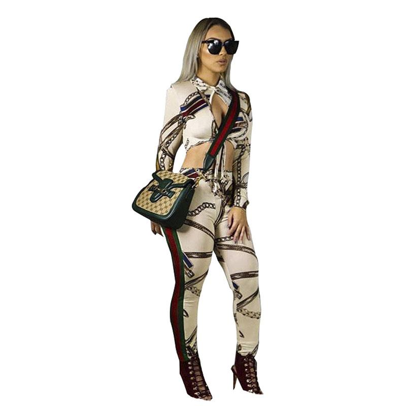 Fashion Sexy Floral print Women Two Piece Set patchwork Long sleeves crop tops+ stripe Casual Pants Suit Sets Bodycon bodysuits