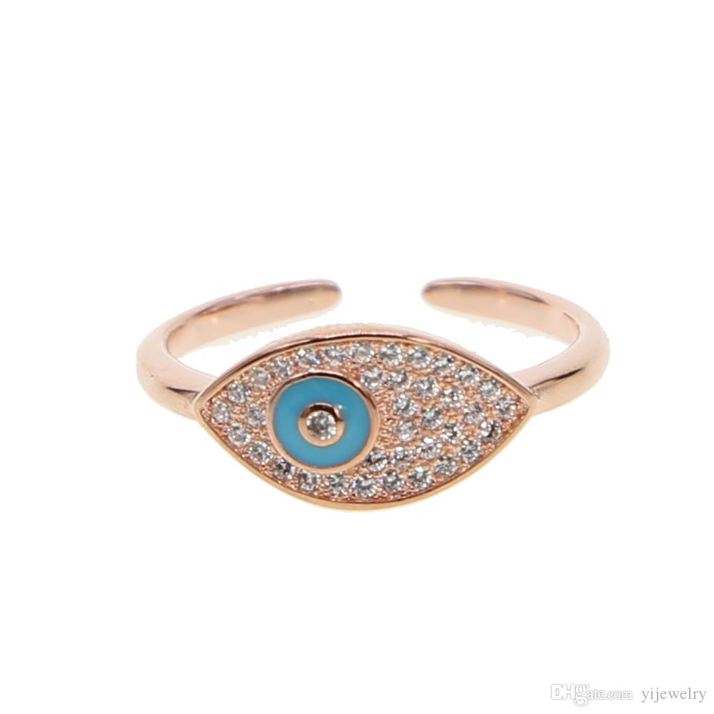 30d73ff9eca0c9 2019 2018 Turkish Evil Eye Open Ring For Women Lucky Sign Micro Pave Cz  Lovely Eye Charm Rose Gold Plated Fashion Brass Jewelry From Yijewelry, ...