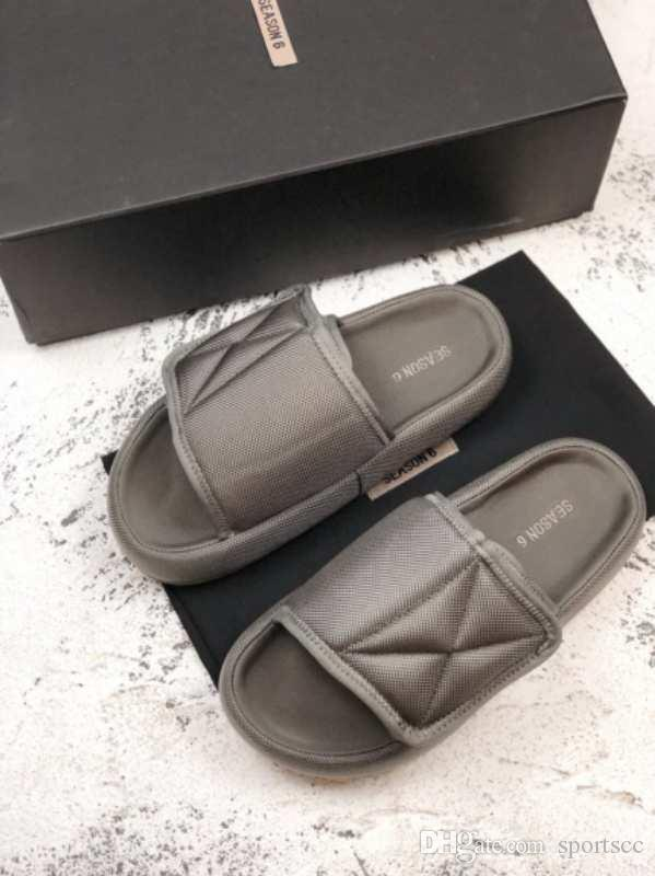 a144002dead1 Kanye West Season 6 Nylon Slides Men Women Memory Foam Slippers New In Box  Shoe Boots Fur Boots From Sportscc