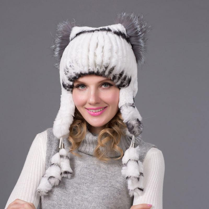 af42d03882c Winter Women Winter Rex Rabbit Fur Hat Earmuffs Cap Knit Hat 2018 Fashion  Casual Fur Quality NParty UK 2019 From Hiramee