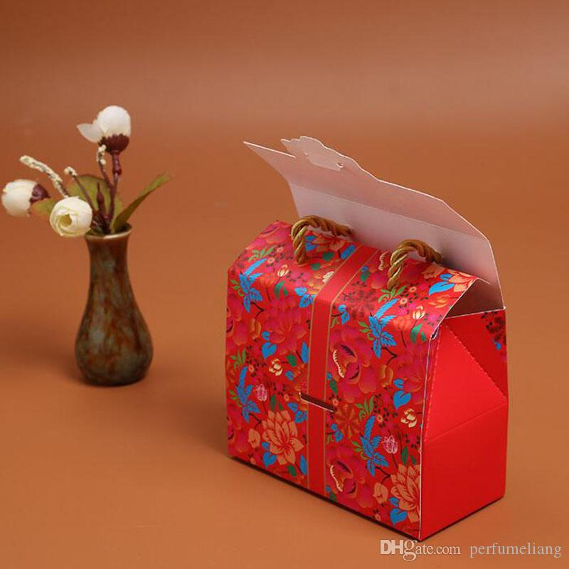 Traditional Chinese Double Happiness Candy Box With Handle Portable Gift Box Wedding Party Favor Decoration ZA6411