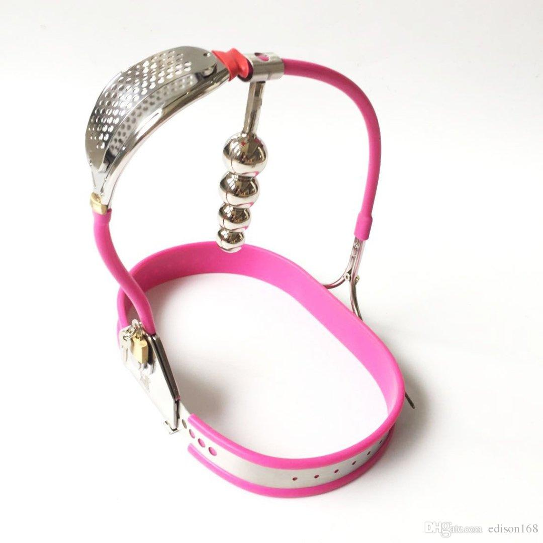 Latest Design Female Whole Adjustable Stainless Steel Chastity Belt Device With Defecate Hole Anus Anal Plug Adult Bondage Bdsm Sex Toy