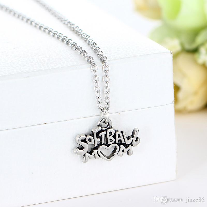 Silver/Gold Color SPECAL SISTER Family Pendants Necklaces SPECAL SISTER Letter Signs Necklaces Women Jewelry SOFTBALL MOM Necklaces Pendants