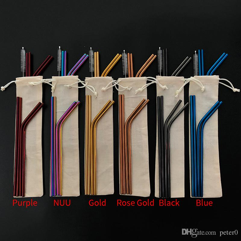 6 Colors Free Combination!! Customized Bag Packing 4 1 Reusable Stainless  Steel Drinking Straws Set Metal Straws Set with Cleaning Brush