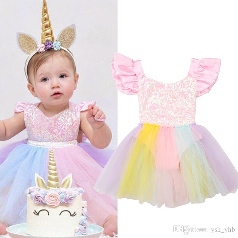 88274756 2019 Unicorn Sequined Baby Girl Princess Tutu Dress Rainbow Color Lace  Romper Toddler Girls Dresses Any Occasion From Ysh_yhb, $5.27   DHgate.Com