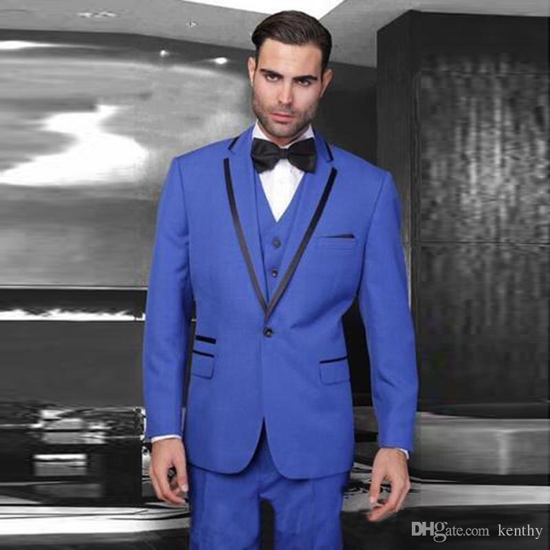 2b5224c00d98d Satın Al Terzi Kraliyet Mavi Erkekler Suits Siyah Yaka Slim Fit Damat Düğün  Takımları Yelek Pantolon Smokin En Iyi Adam Blazer Balo Aşınma Ceket 3  Parça, ...