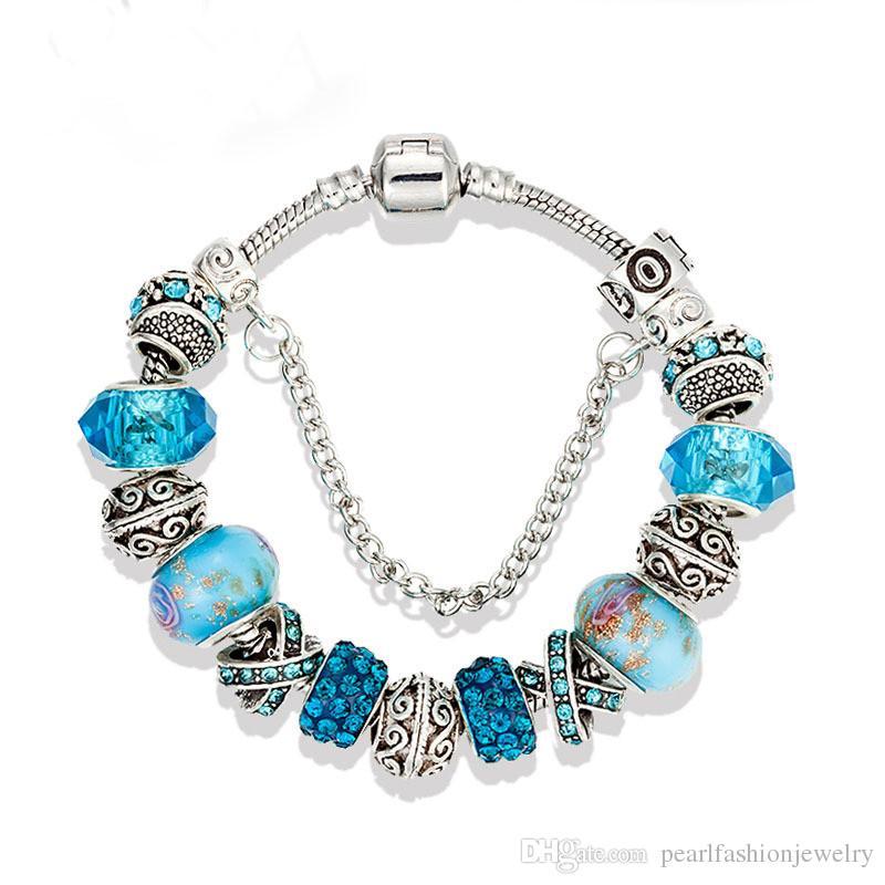 1150cd6d333c Compre 17 18 19 20 21 Cm Pulsera De Plata De Moda Pulsera De Pandora De  Plata Para Las Mujeres Azul Cuentas De Cristal Bricolaje Joyería De La Gota  Envío A ...