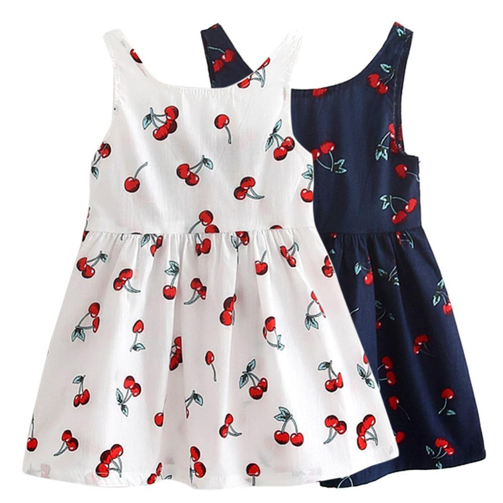 69815c7e1f3 2019 Girls Summer Dresses Kids Cotton O Neck Short Sleeeve Cherry Print Bow  Decor Backless A Line Princess Cute Dresses Child Clothes From Guoli0005