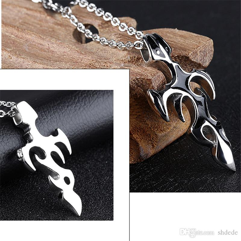 Classic Vintage Cross Pendant Stainless Steel Link Chain Necklace For Men Korea Trendy Jewelry Accessories OGX115