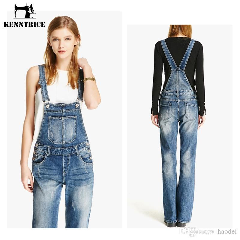 06900d42d203 2019 KENNTRICE 2018 Brand Quality Spring Autumn Front Pocket Full Length  Sexy Long Denim Overalls Bodysuits Jeans Jumpsuits Pants From Haodei