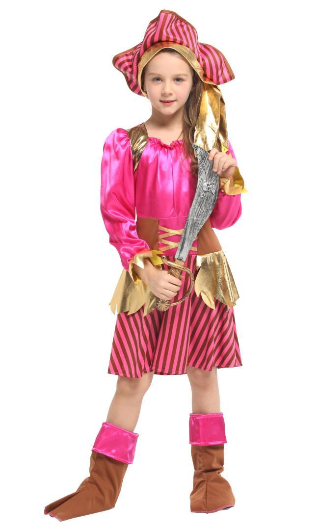 Shanghai Story Halloween Caribbean Pirate Captain Girls Play Costume Ball Party Children Cute Cosplay