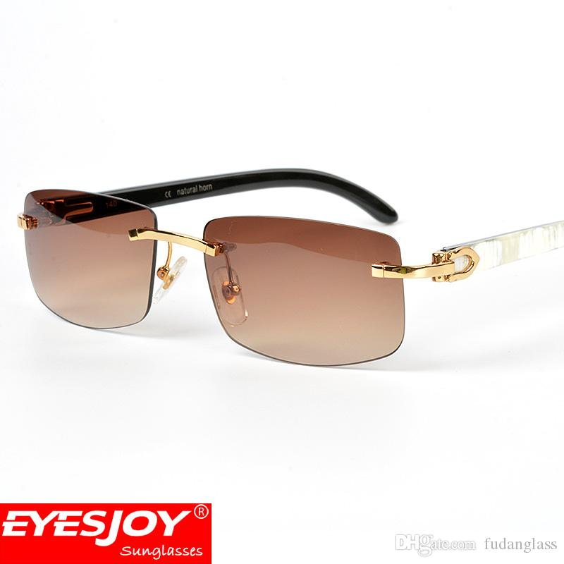 f04c615922 Eyesjoy Buffalo Horn Sunglasses Brand Designer Retro Luxury Horns Mens  SunGlasses Rimless Frmaes Sunglasses For Men With Original Red Box Locs  Sunglasses ...