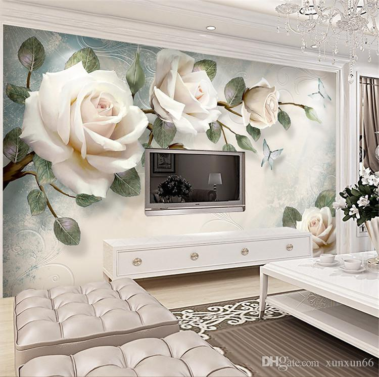 Papel pintado europeo White Rose Flower Mural Photo Wallpapers Living Room Papel de pared 3D papel pintado pared rollos papel de parede