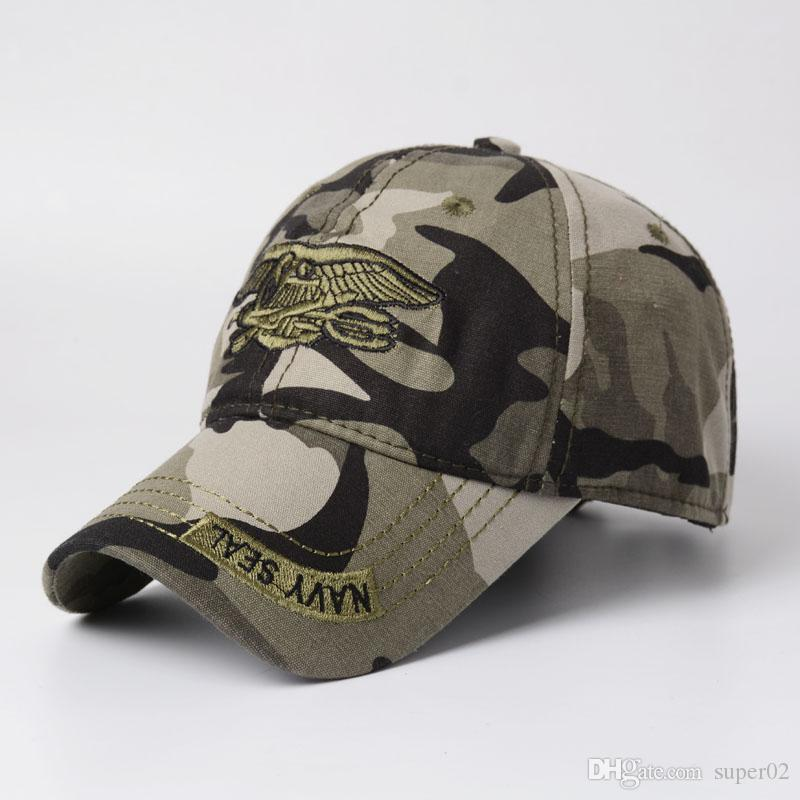 0f0b01ea3fa High Quality Camo Cap Men Camouflage Navy Seal Tactical Cap Mens Hats Field  Cap Bone Army For Adult Superman Cap Hat Embroidery From Super02