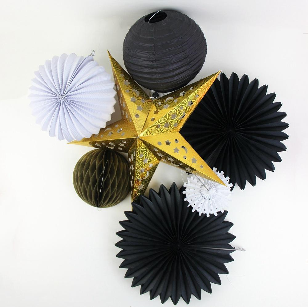Event Party Decorations Set Black White Gold Paper Fans Laser Gold Stars Lanterns Honeycomb Ball Hanging Home Garden Party Decor