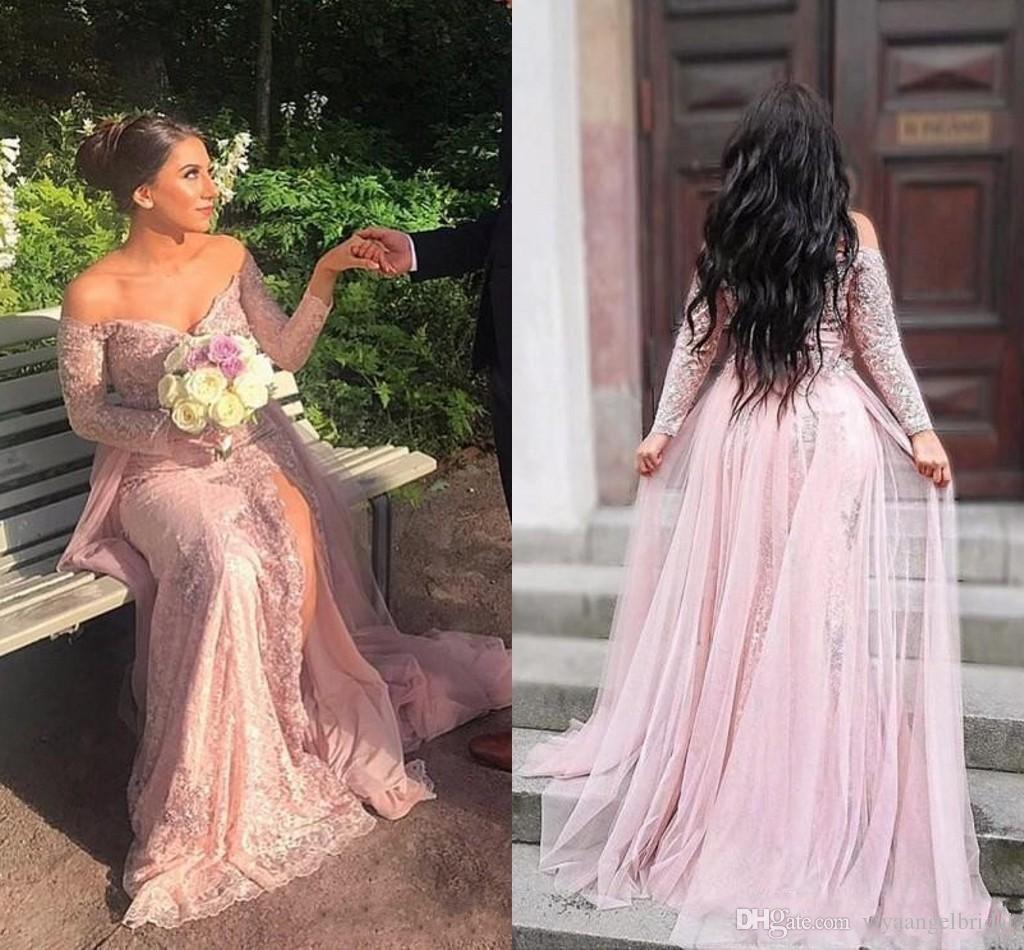 Blush Pink V Neck Prom Dresses 2019 Sequins Lace Long Sleeves Side Split  Floor Length Off Shoulder Formal Prom Gowns Robe De Soiree Lace Formal  Dresses Lace ... 72a6ad8d07de