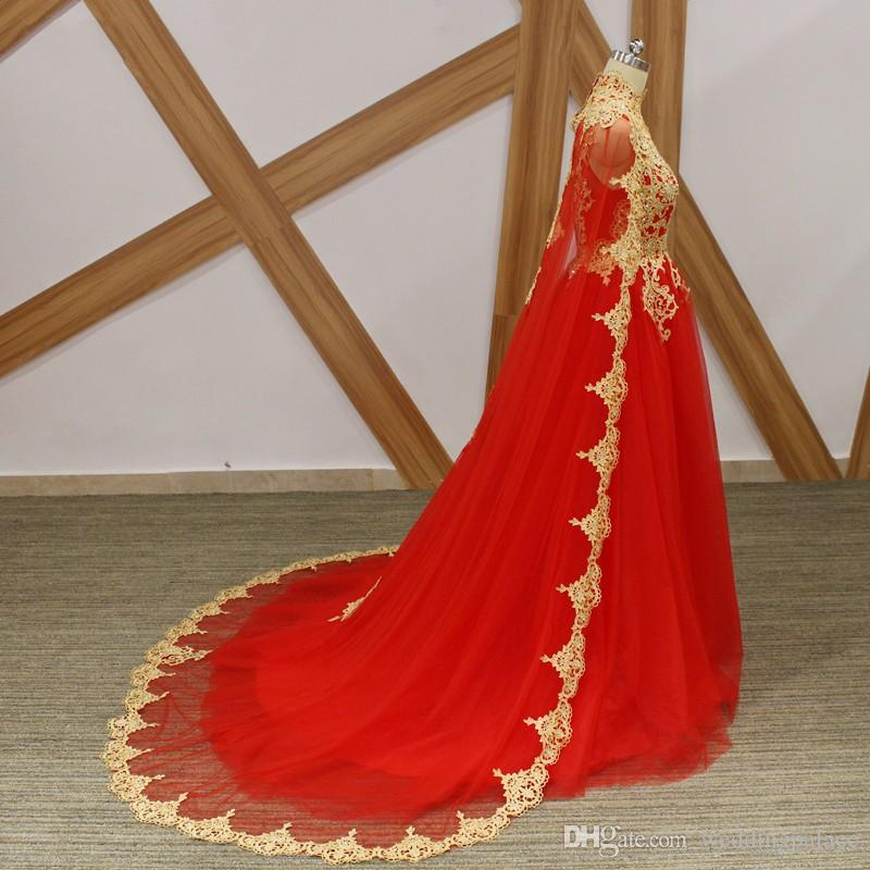 Elegant Red High Neck Arabic Long Prom Dresses With Cape Middle East Appliques Beaded Formal Prom Gowns Robe De Bal Evening Dresses