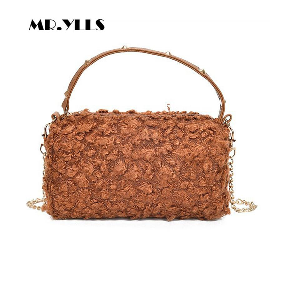 05df5bbc55ad Fashion Women Bucket Handbag 2018 Rivet Top Handle Women Casual Tote Winter  Wool Chains Females Shoulder Bag Cute Girls Bags New Designer Purses  Satchel ...