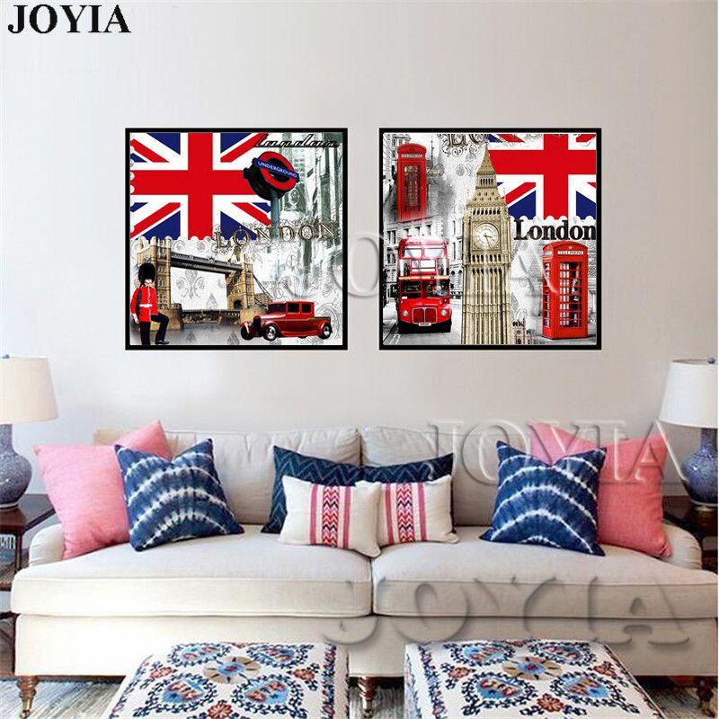 2019 Retro Style London Canvas Print Britain Flag Canvas Paintings ...
