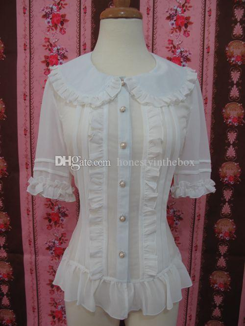 2017 Retro Red/Black/White Chiffon Peter Pan Collar Half Butterfly Sleeve Slim Gothic Lolita Blouses For Women