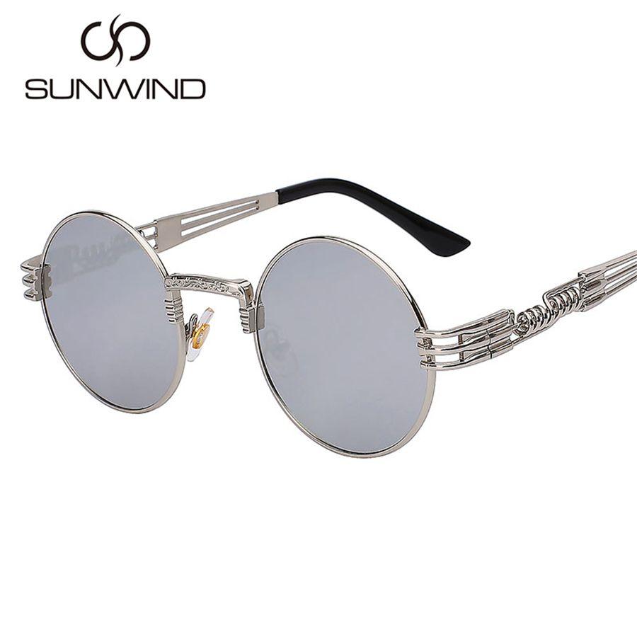 7282be64a39 Men Women Round Metal Sunglasses Steampunk Fashion Glasses Brand ...
