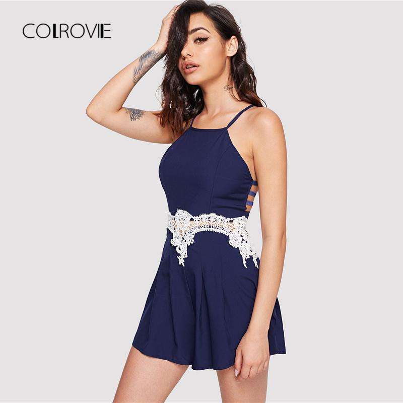 dfd96b91b1c1 2019 20187 COLROVIE Lace Panel Cut Out Cami Romper 2018 New Navy Sexy  Jumpsuit Halter Women Jumpsuit Sleeveless Skinny Beach Jumpsuit From  Huang01