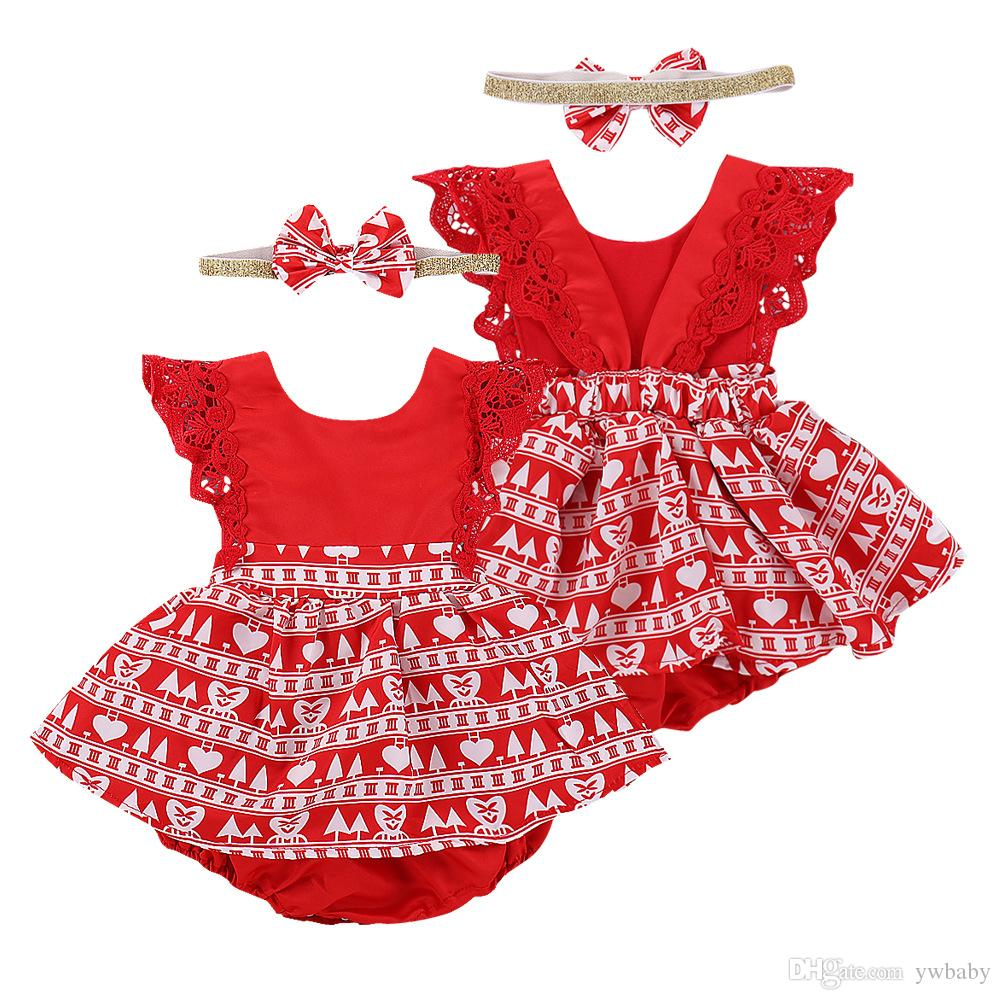 8fc97104eca 2019 Newborn Baby Girl Lace Flower Rompers Toddler Princess Christmas  Jumpsuits Bebe Red Romper With Headbands Baby Girl Clothes From Ywbaby